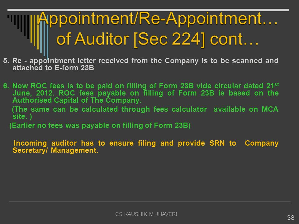 Appointment/Re-Appointment… of Auditor [Sec 224] cont…